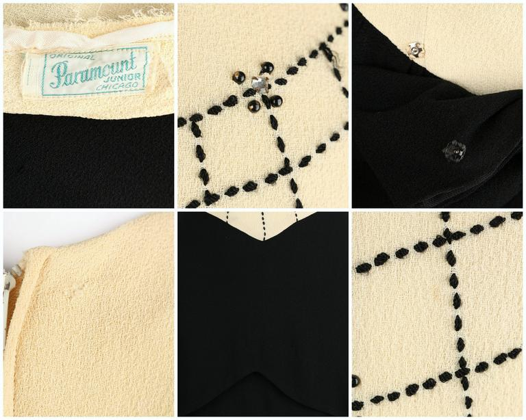 PARAMOUNT JUNIOR 1940s Black Ivory Spider Web Crepe Peplum Bow Cocktail Dress 10