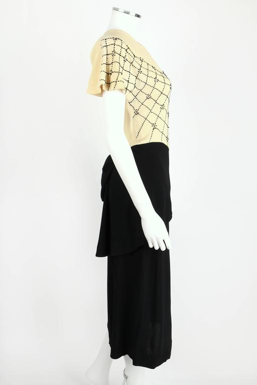 PARAMOUNT JUNIOR 1940s Black Ivory Spider Web Crepe Peplum Bow Cocktail Dress 3