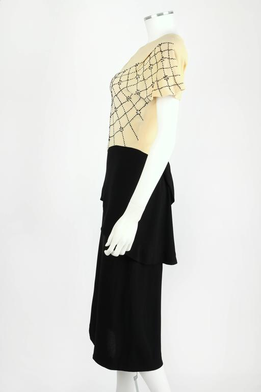 PARAMOUNT JUNIOR 1940s Black Ivory Spider Web Crepe Peplum Bow Cocktail Dress 5