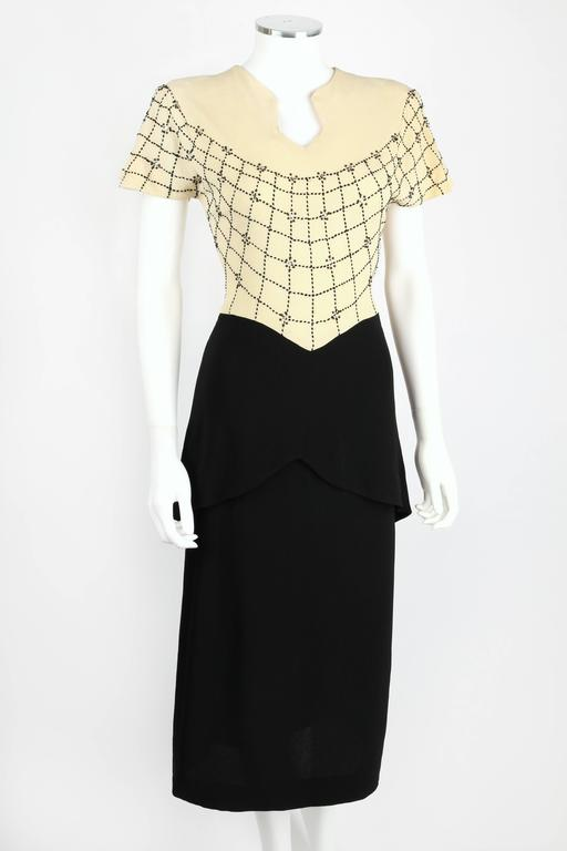 PARAMOUNT JUNIOR 1940s Black Ivory Spider Web Crepe Peplum Bow Cocktail Dress 2