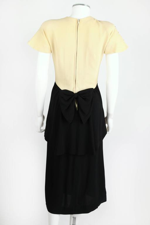 PARAMOUNT JUNIOR 1940s Black Ivory Spider Web Crepe Peplum Bow Cocktail Dress 4