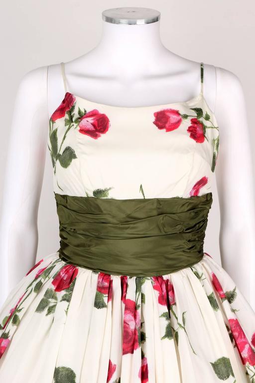 1950s Rose Garden White Floral Classic Green Taffeta Bow Tea Length Party Dress 6