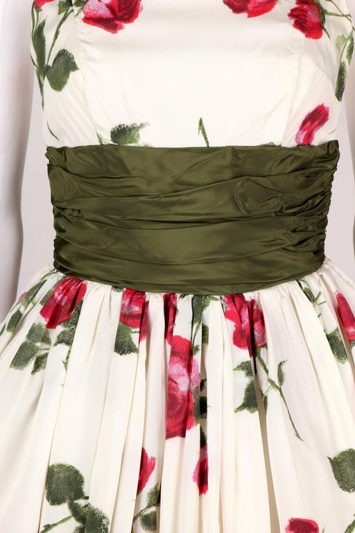 1950s Rose Garden White Floral Classic Green Taffeta Bow Tea Length Party Dress 7