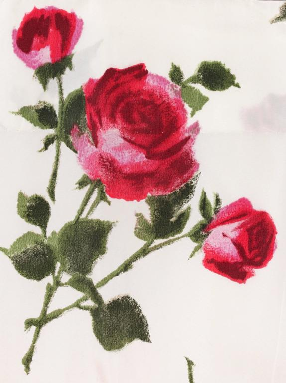1950s Rose Garden White Floral Classic Green Taffeta Bow Tea Length Party Dress 9