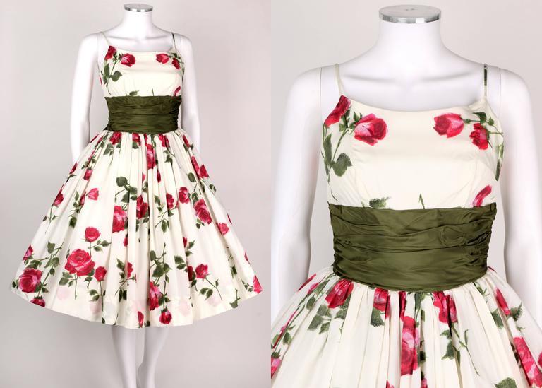 1950s Rose Garden White Floral Classic Green Taffeta Bow Tea Length Party Dress 2