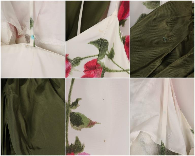 1950s Rose Garden White Floral Classic Green Taffeta Bow Tea Length Party Dress 10