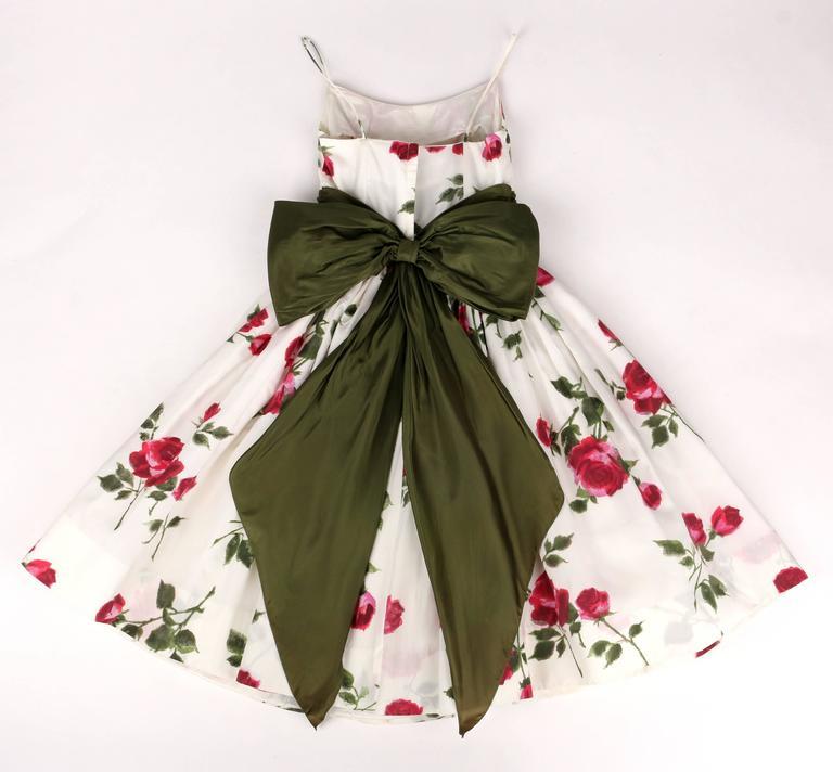 1950s Rose Garden White Floral Classic Green Taffeta Bow Tea Length Party Dress 4