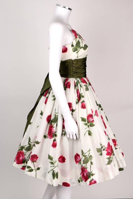 1950s Rose Garden White Floral Classic Green Taffeta Bow Tea Length Party Dress 3