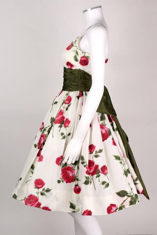 1950s Rose Garden White Floral Classic Green Taffeta Bow Tea Length Party Dress 5