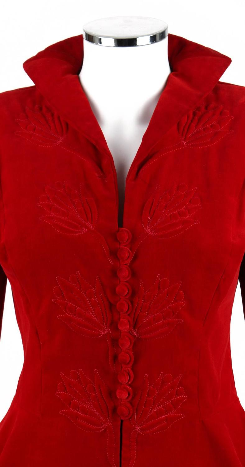 1940s couture red velvet trapunto quilted detail jacket for Red velvet button up shirt