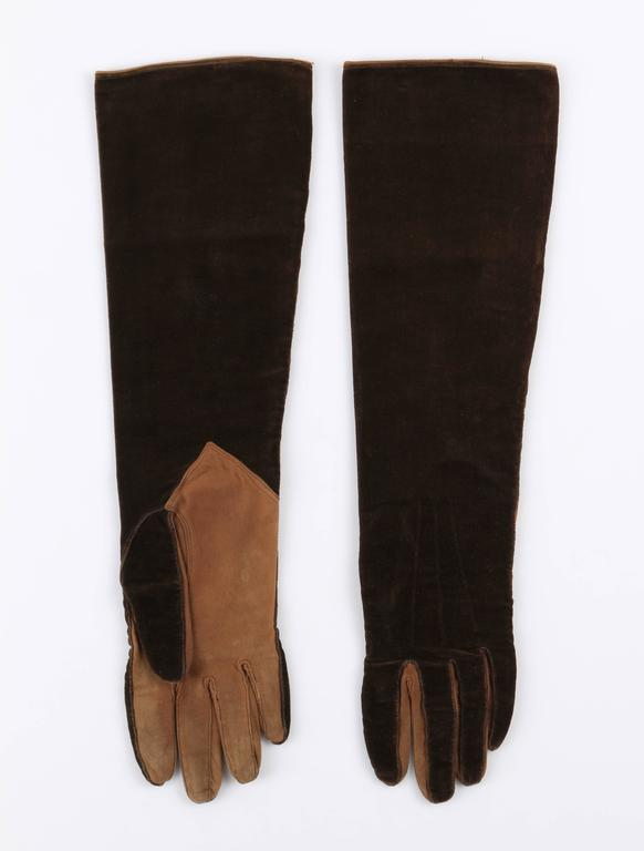 CHANEL 1930s Brown Velvet Suede Leather Elbow Length Flapper Gloves Size 7 3