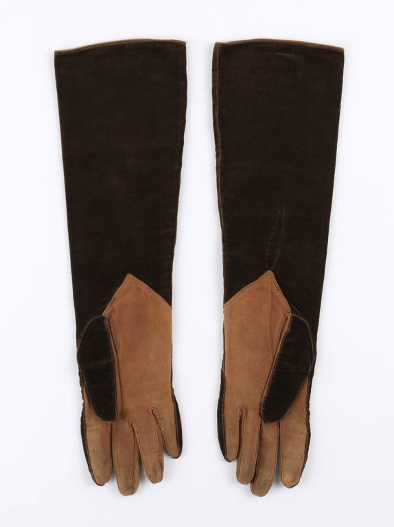 CHANEL 1930s Brown Velvet Suede Leather Elbow Length Flapper Gloves Size 7 5