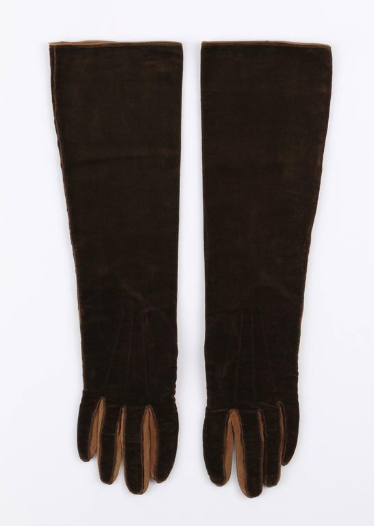 CHANEL 1930s Brown Velvet Suede Leather Elbow Length Flapper Gloves Size 7 4