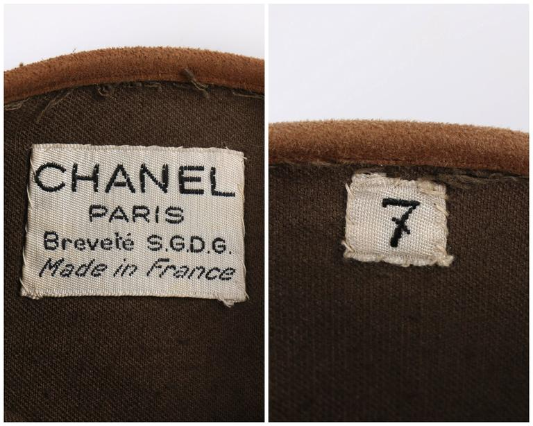 CHANEL 1930s Brown Velvet Suede Leather Elbow Length Flapper Gloves Size 7 6