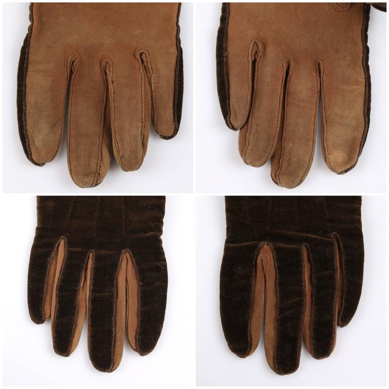 CHANEL 1930s Brown Velvet Suede Leather Elbow Length Flapper Gloves Size 7 7