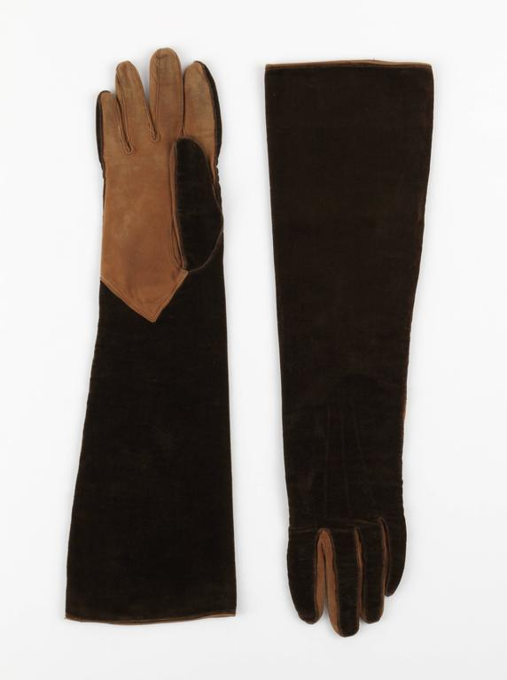 CHANEL 1930s Brown Velvet Suede Leather Elbow Length Flapper Gloves Size 7 2