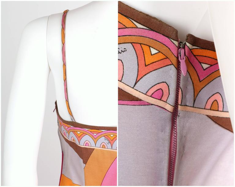 EMILIO PUCCI c.1970s Multicolor Floral Print Cotton Jersey Drop Waist Sundress For Sale 4
