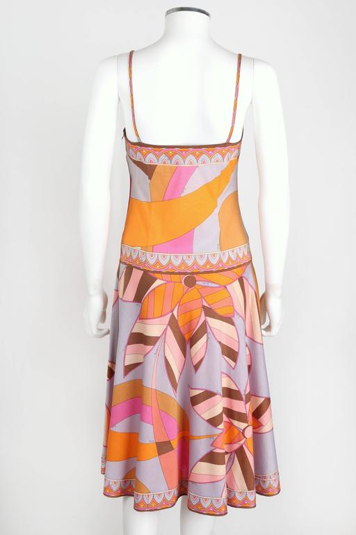 EMILIO PUCCI c.1970s Multicolor Floral Print Cotton Jersey Drop Waist Sundress 4