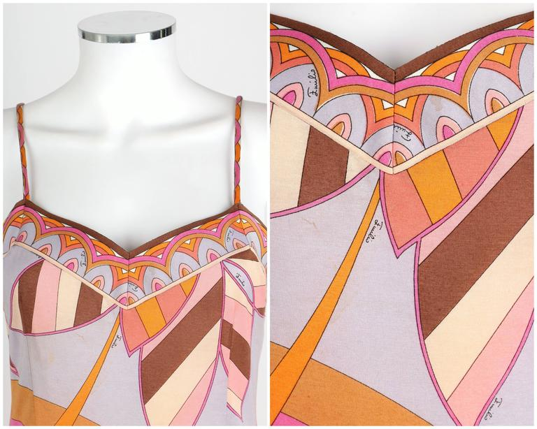 EMILIO PUCCI c.1970s Multicolor Floral Print Cotton Jersey Drop Waist Sundress 6