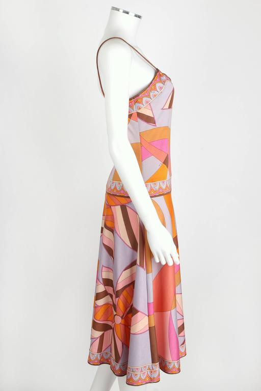 EMILIO PUCCI c.1970s Multicolor Floral Print Cotton Jersey Drop Waist Sundress 3