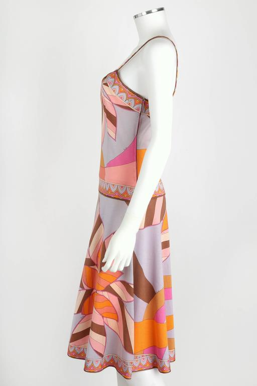 EMILIO PUCCI c.1970s Multicolor Floral Print Cotton Jersey Drop Waist Sundress 5