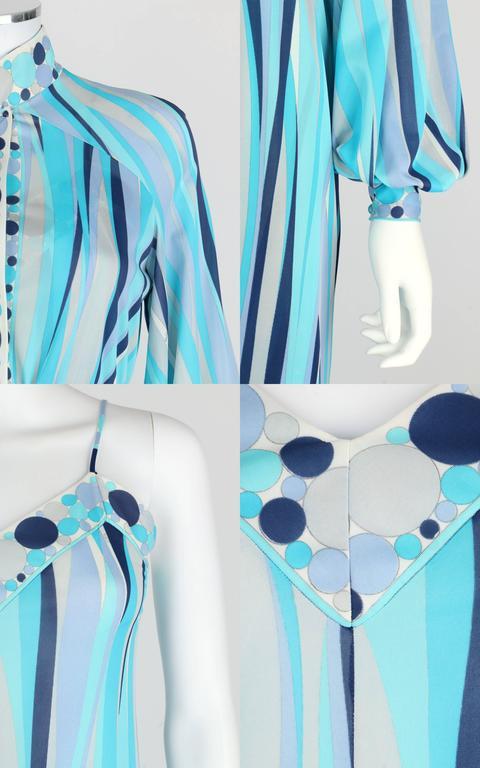 EMILIO PUCCI 1960s Formfit Rogers 2pc Blue Signature Print Maxi Dress Lounge Set For Sale 4