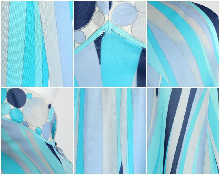 EMILIO PUCCI 1960s Formfit Rogers 2pc Blue Signature Print Maxi Dress Lounge Set For Sale 5