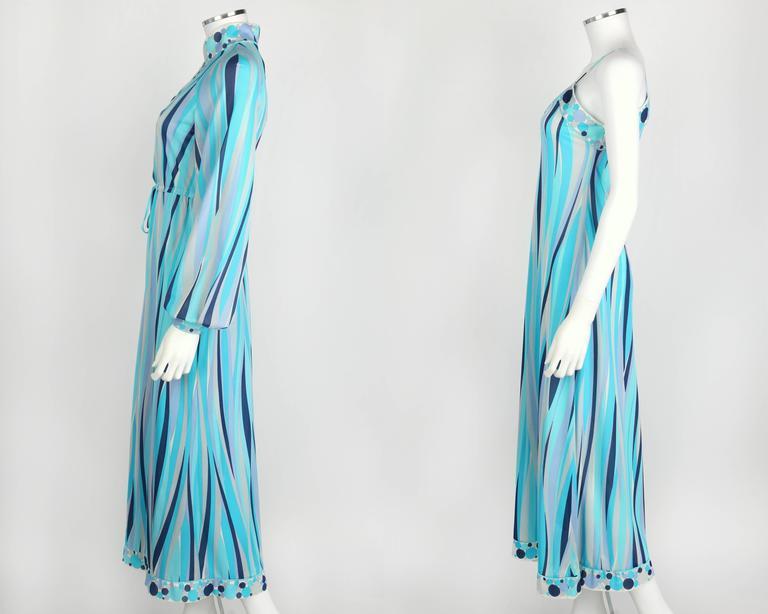 EMILIO PUCCI 1960s Formfit Rogers 2pc Blue Signature Print Maxi Dress Lounge Set For Sale 1