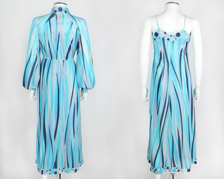 Women's EMILIO PUCCI 1960s Formfit Rogers 2pc Blue Signature Print Maxi Dress Lounge Set For Sale