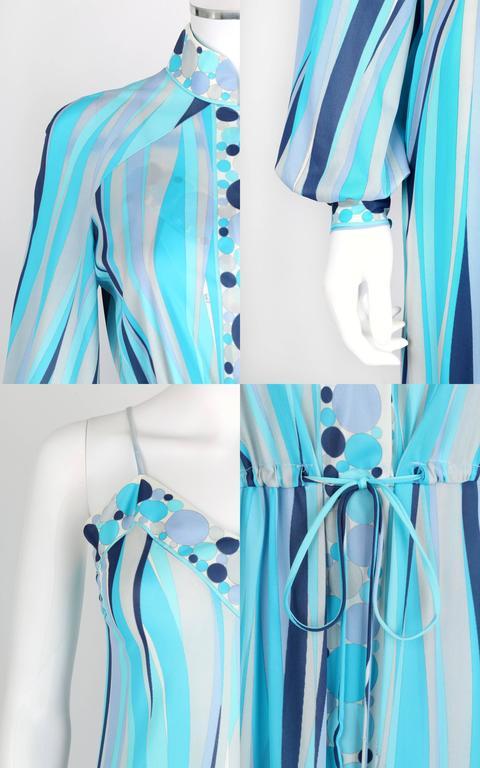 EMILIO PUCCI 1960s Formfit Rogers 2pc Blue Signature Print Maxi Dress Lounge Set For Sale 3
