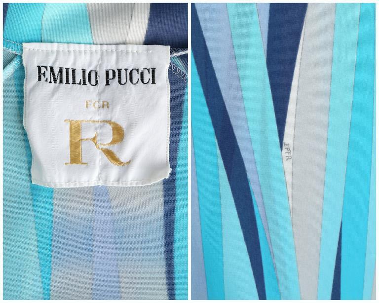 EMILIO PUCCI 1960s Formfit Rogers 2pc Blue Signature Print Maxi Dress Lounge Set For Sale 6