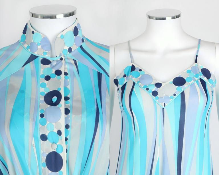 EMILIO PUCCI 1960s Formfit Rogers 2pc Blue Signature Print Maxi Dress Lounge Set For Sale 2