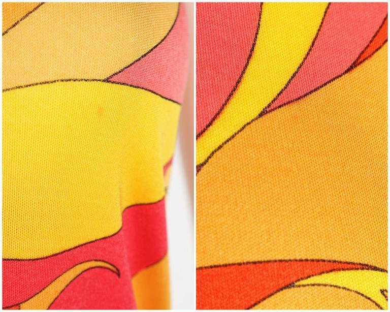 EMILIO PUCCI 1970s Orange Multicolor Floral Motif Silk Jersey Sleeveless Top For Sale 5