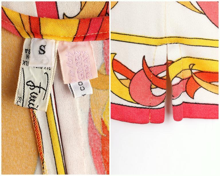 EMILIO PUCCI 1970s Orange Multicolor Floral Motif Silk Jersey Sleeveless Top For Sale 6