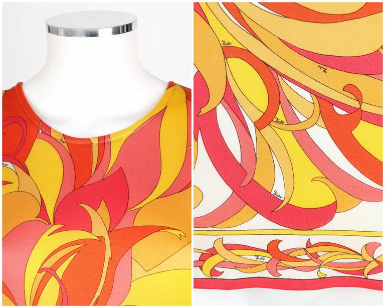 EMILIO PUCCI 1970s Orange Multicolor Floral Motif Silk Jersey Sleeveless Top For Sale 2