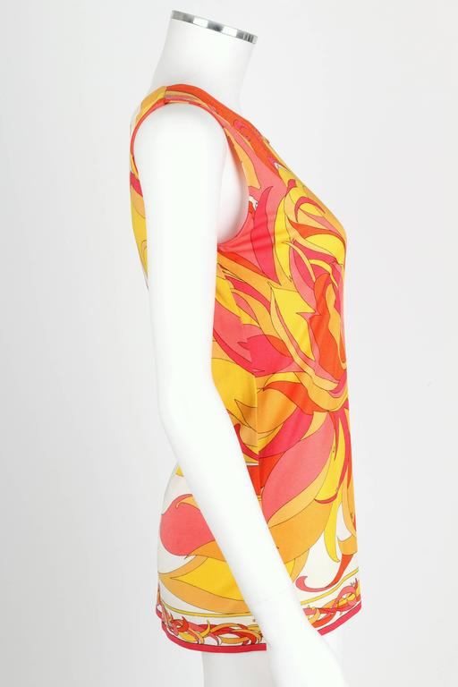 EMILIO PUCCI 1970s Orange Multicolor Floral Motif Silk Jersey Sleeveless Top In Excellent Condition For Sale In Thiensville, WI