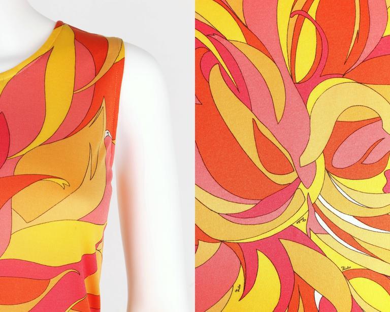EMILIO PUCCI 1970s Orange Multicolor Floral Motif Silk Jersey Sleeveless Top For Sale 4