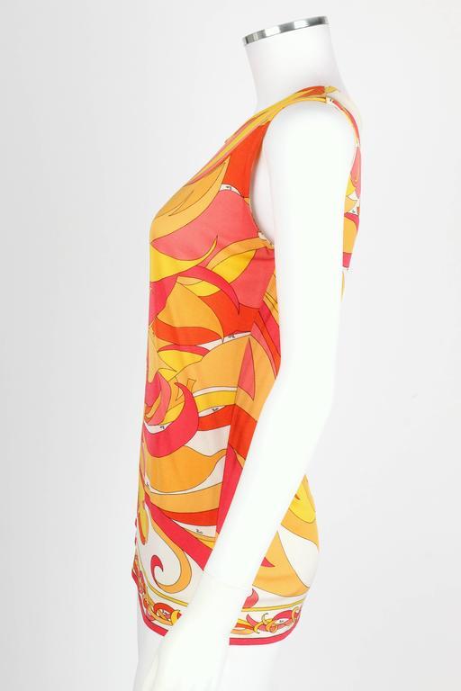 EMILIO PUCCI 1970s Orange Multicolor Floral Motif Silk Jersey Sleeveless Top For Sale 1