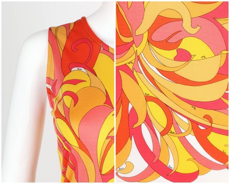 EMILIO PUCCI 1970s Orange Multicolor Floral Motif Silk Jersey Sleeveless Top For Sale 3