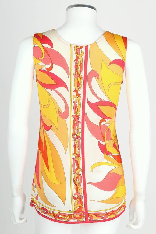 Women's EMILIO PUCCI 1970s Orange Multicolor Floral Motif Silk Jersey Sleeveless Top For Sale