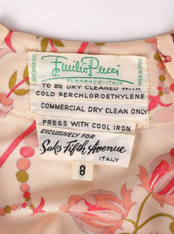 EMILIO PUCCI 1970s Signature Print Floral Rose Silk Long Sleeve Dress Size 8 10