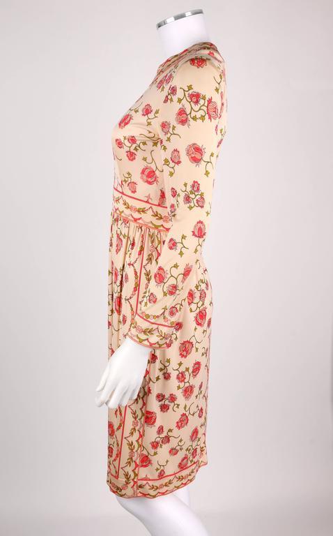 EMILIO PUCCI 1970s Signature Print Floral Rose Silk Long Sleeve Dress Size 8 5