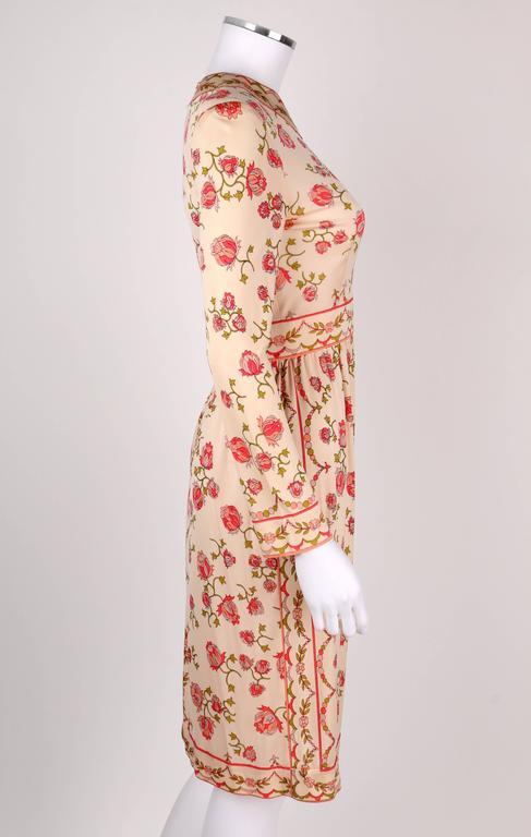 EMILIO PUCCI 1970s Signature Print Floral Rose Silk Long Sleeve Dress Size 8 3