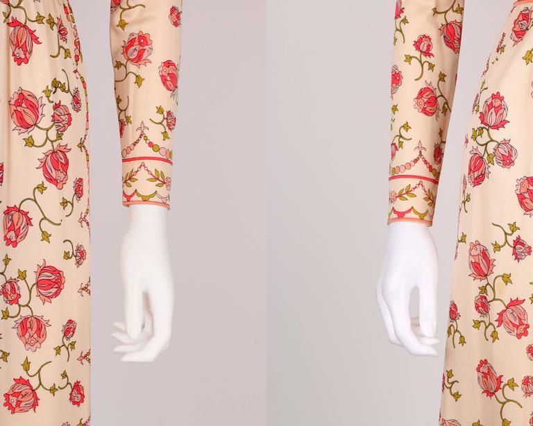 EMILIO PUCCI 1970s Signature Print Floral Rose Silk Long Sleeve Dress Size 8 6