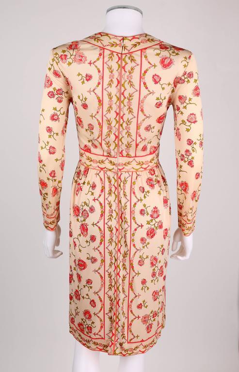 EMILIO PUCCI 1970s Signature Print Floral Rose Silk Long Sleeve Dress Size 8 4