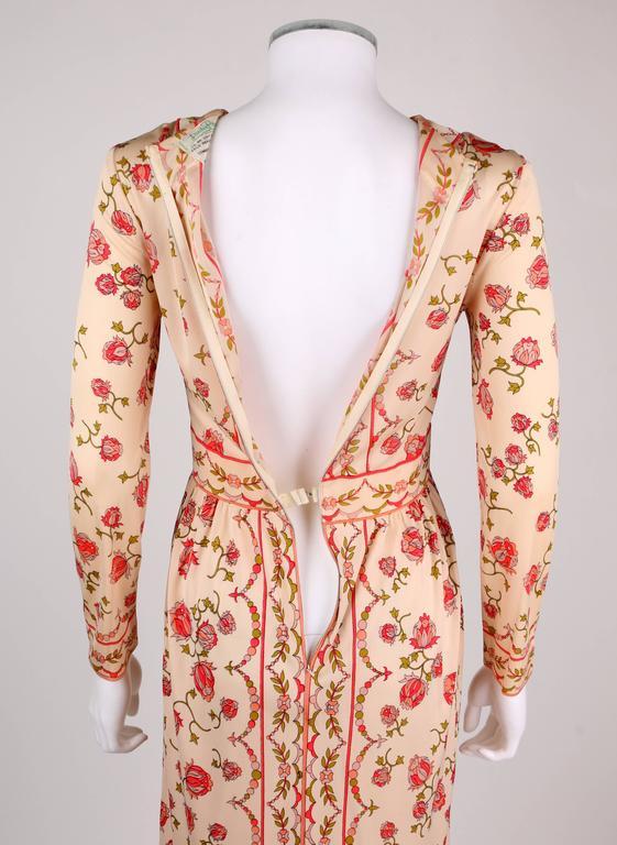 EMILIO PUCCI 1970s Signature Print Floral Rose Silk Long Sleeve Dress Size 8 7