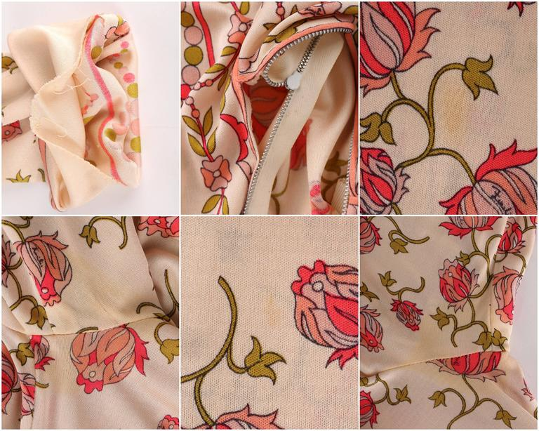 EMILIO PUCCI 1970s Signature Print Floral Rose Silk Long Sleeve Dress Size 8 9