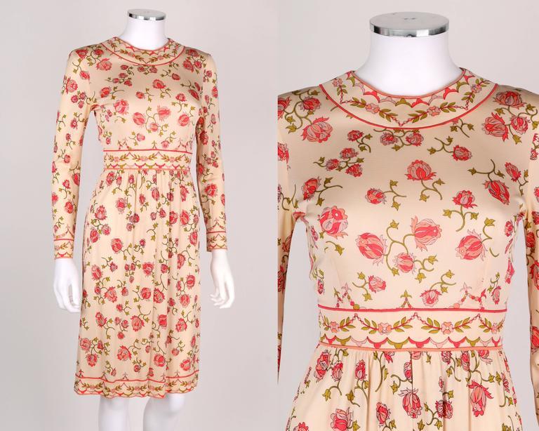 EMILIO PUCCI 1970s Signature Print Floral Rose Silk Long Sleeve Dress Size 8 2