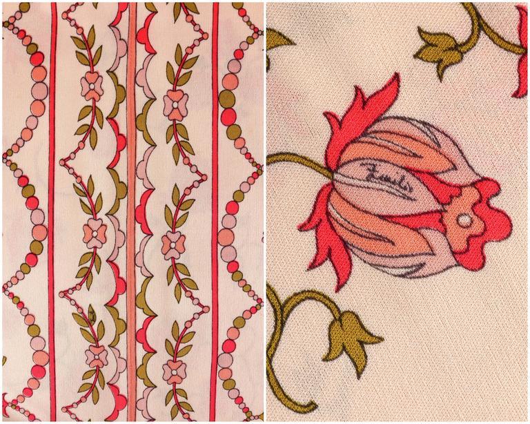 EMILIO PUCCI 1970s Signature Print Floral Rose Silk Long Sleeve Dress Size 8 8