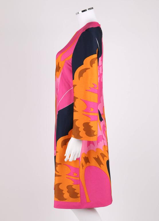 HENAE MORI 1970s Pink Orange Multicolor Abstract Print Long Sleeve Shift Dress For Sale 1